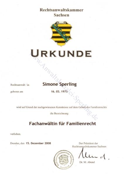 Fachanwaltsurkunde-Simone_Sperling