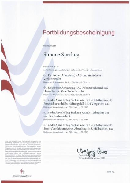 Fortbildung Anwaltsverein 2012