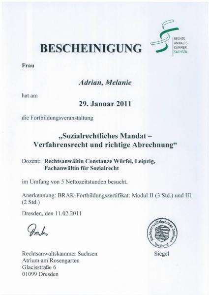 Zertifikat Sozialrecht, Bearbeitung Mandate