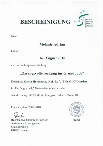Zertifikat Zwangsversteigerung Grundstueck