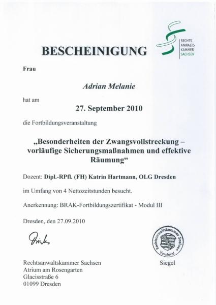 Zertifikat Zwangsvollstreckung und Wohnungsraeumung